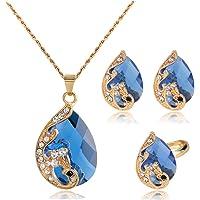 EZIO Crystal CZ Necklace and Earrings Set for Women Teardrop Rhinestone Choker Necklace Drop Earrings Adjustable Ring…