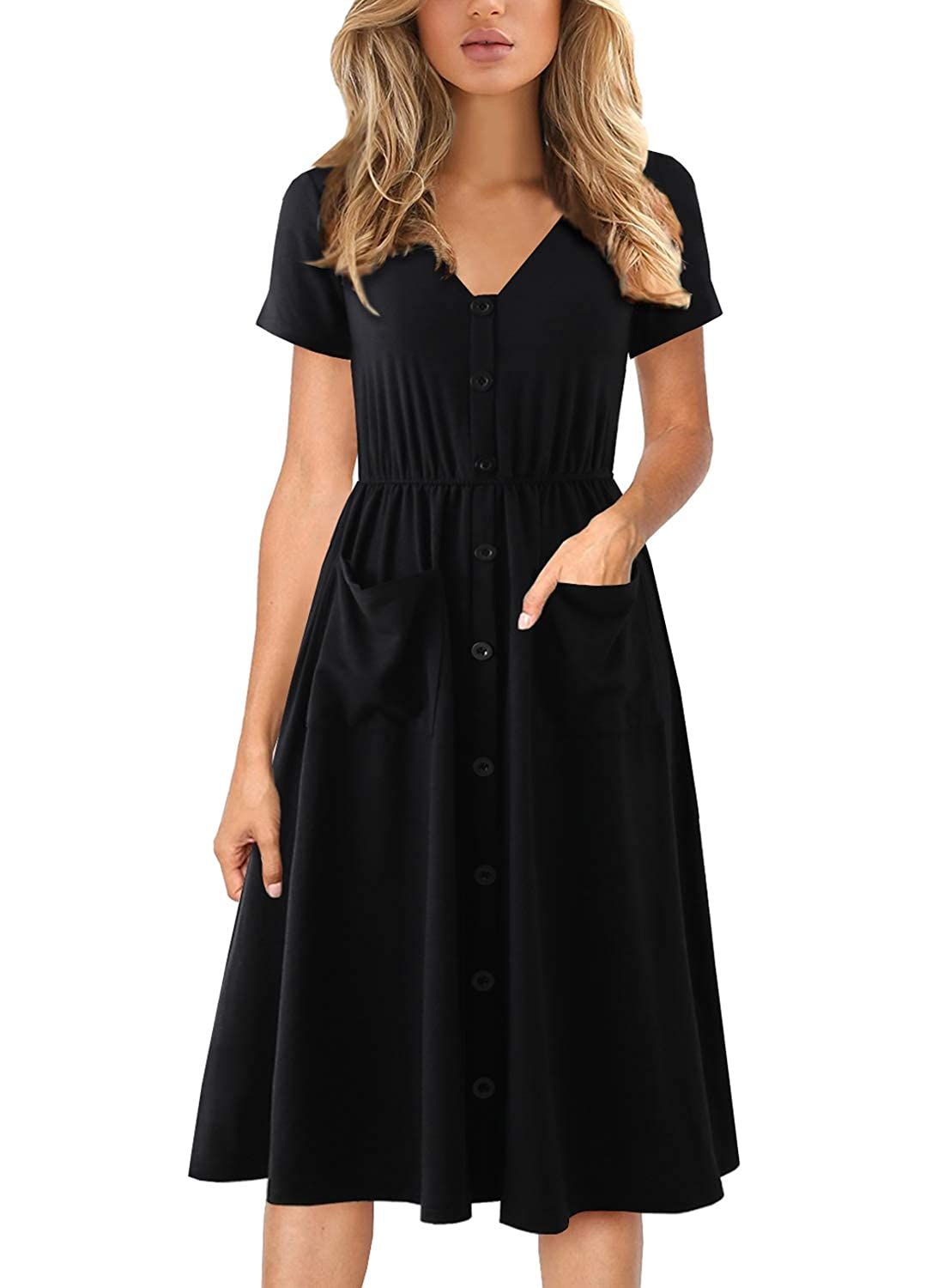 800d20d4fcd6 COMFORTABLE SOFT MATERIAL : Polyester + Cotton, Women's midi dresses is  comfy breathable material and super nice quality. Very soft to touch and  easy to ...