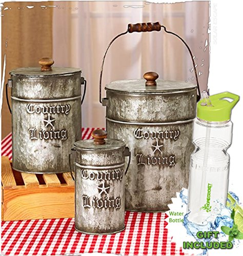 Gift Included Set Of 3 Rustic Country Living Canisters Home Decor Accents Free Bonus 23 Oz Water Bottle Byhomecricket