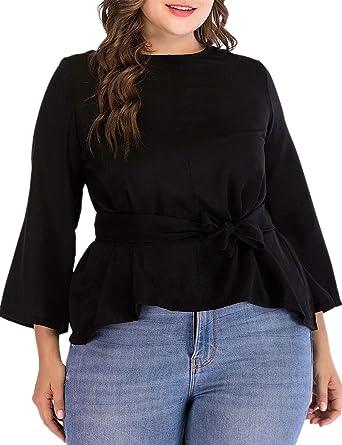 363cd005ac0 Dean Fast Women Plus Size Peplum Hem Blouse Shirt 3 4 Sleeve Tunic Casual  Tops