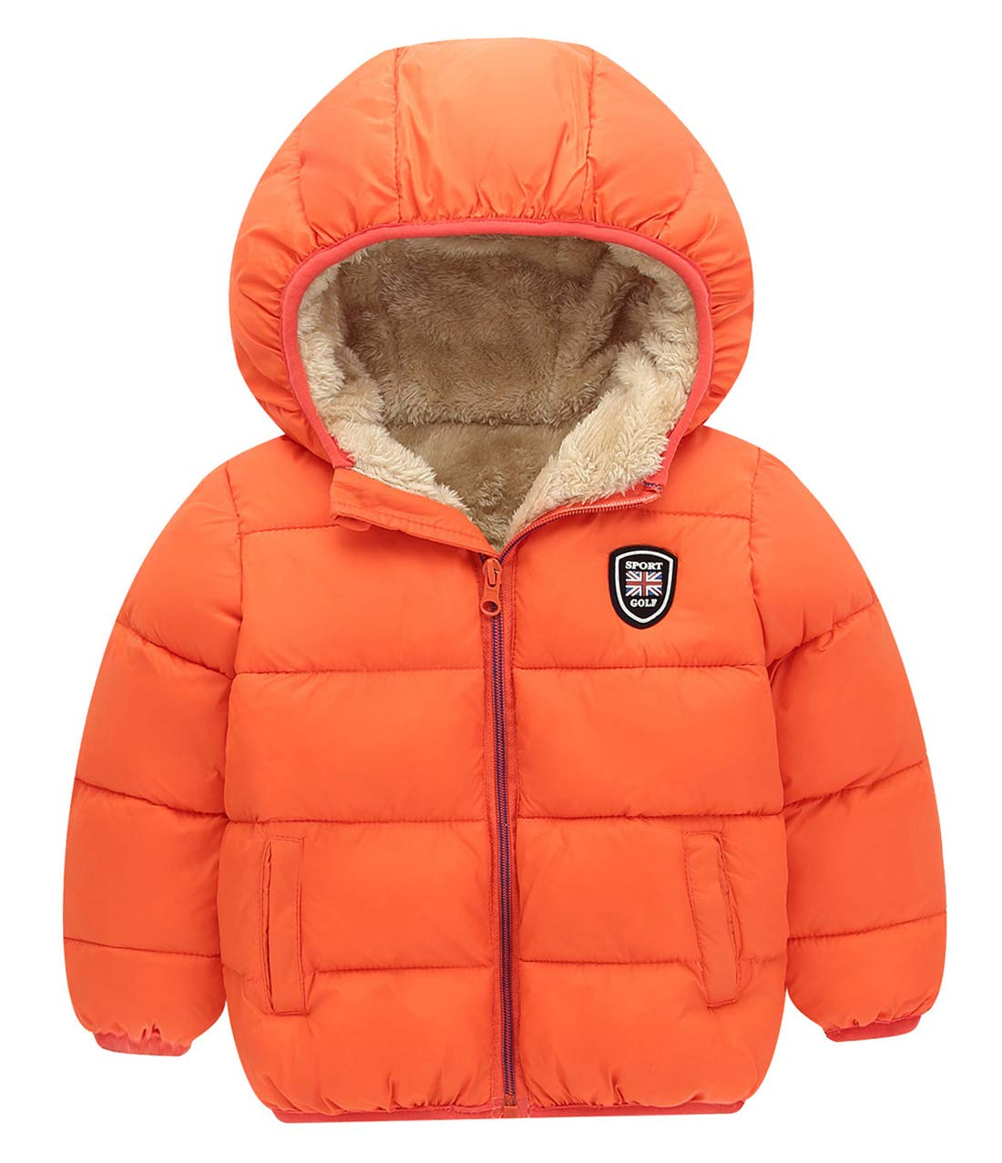 Baby Winter Cotton Coat Thick Warm Windproof Zipper Hooded Jacket Outwear for 2-3 Years, Orange by Happy Cherry