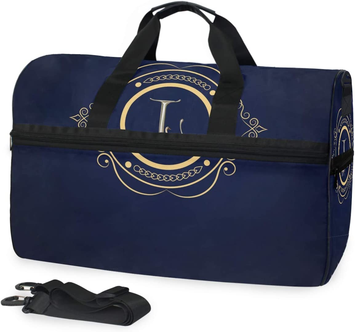 MALPLENA Letter Travel Duffel Bag Weekender Bag with Shoes Compartment for Men Women