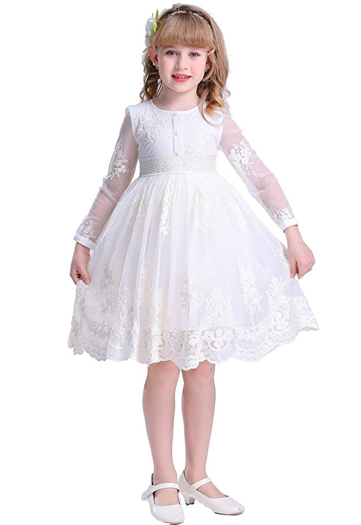 fe5c9bb3e58 Amazon.com  Bow Dream Cream Ivory Sleeves Sleveless Vintage Lace Flower  Girl Dress  Clothing
