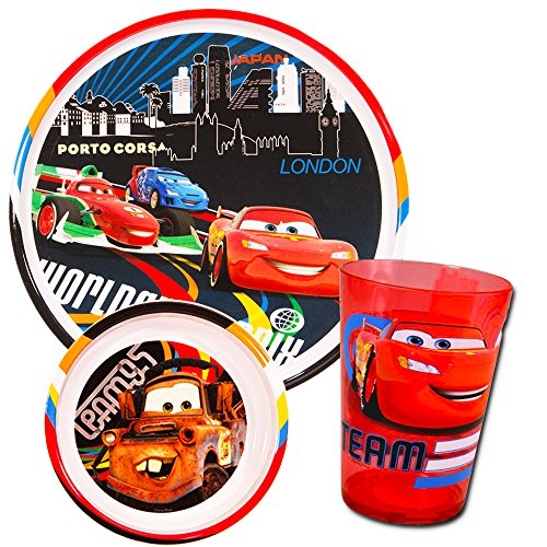 Disney/Pixar Cars Toddler Dining Set - Plate, Bowl, Cup, Flatware and Stickers (Cars Dinnerware Set) -