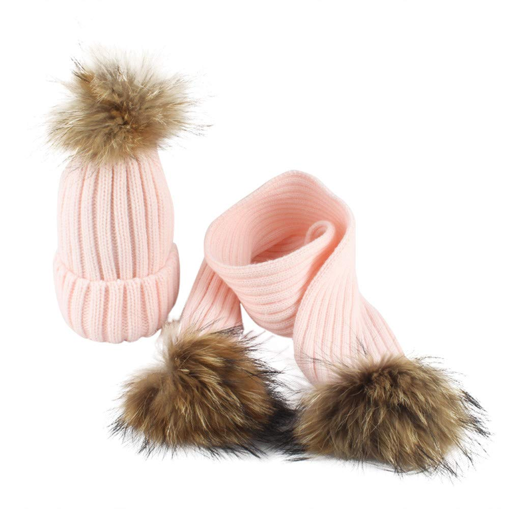 Fheaven Baby Winter Warm Hat Toddler Knitted Beanie Hair ball Kids Girls Boys Hat Cap+Scarf (PINK)