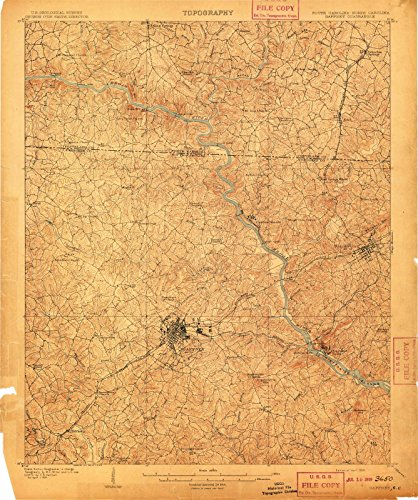 South Carolina Maps | 1909 Gaffney, SC USGS Historical Topographic Map |Fine Art Cartography Reproduction - Sc Gaffney