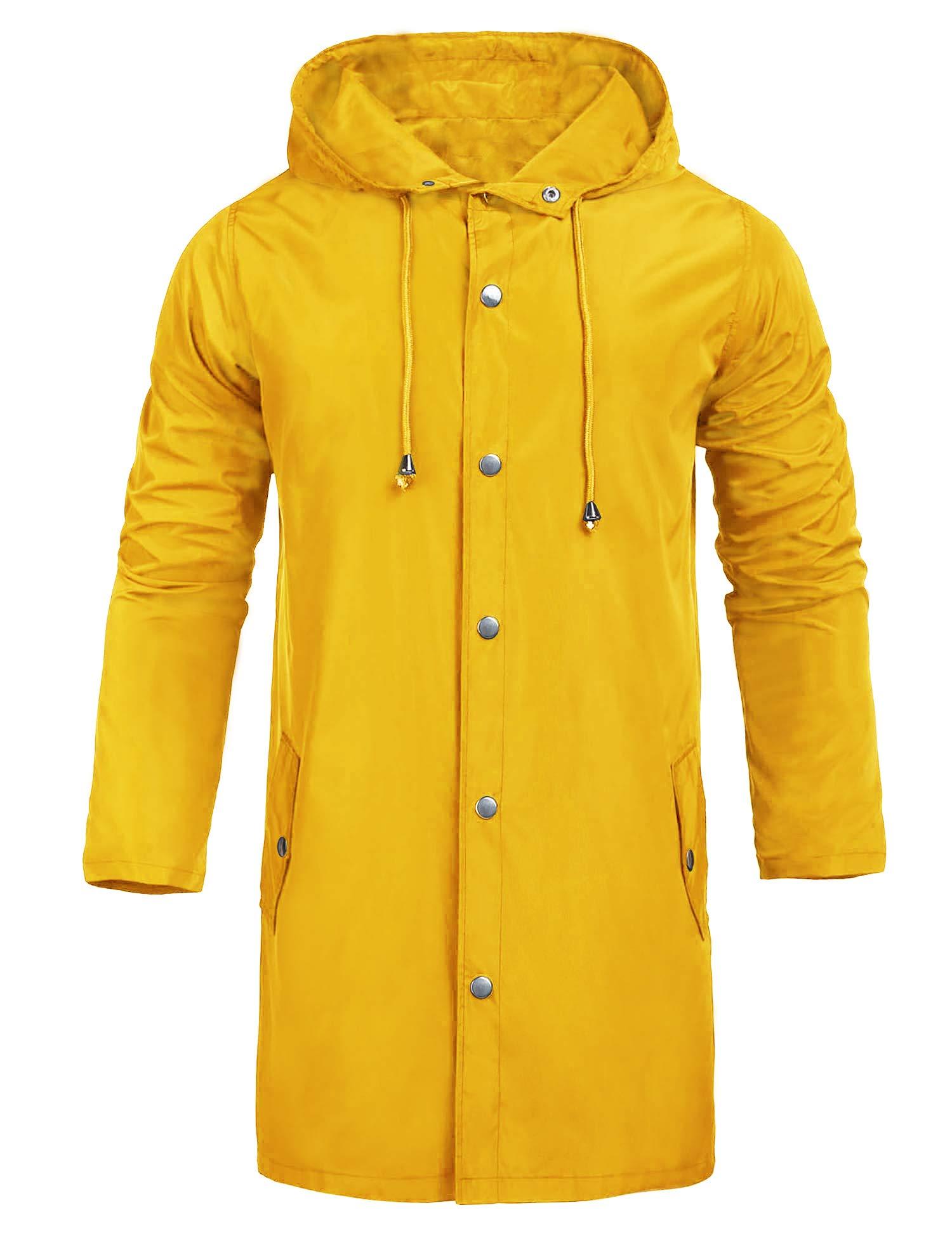 UUANG Men Raincoats Waterproof Jacket with Hood Active Outdoor Long Windbreaker Lightweight Rain Jacket for Men Yellow by UUANG