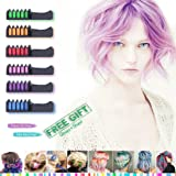 Hair Chalk - Temporary Bright Hair Chalk Colors - CandyHair Comb For Hair Chalk Salon Washable Hair Colors For Kids For Girl - Hair Dyeing Party and Cosplay Diy Suitable For Dark Brown Hair (6 color)