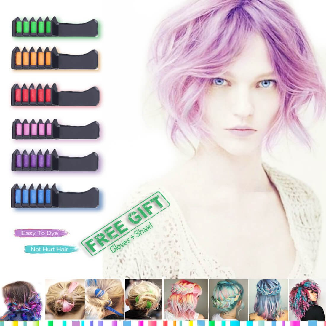 Hair Chalk - Temporary Bright Hair Chalk Colors - CandyHair Comb For Hair Chalk Salon – Washable Hair Colors For Kids, For Girl - Hair Dyeing Party and Cosplay Diy – Suitable For Dark Brown Hair