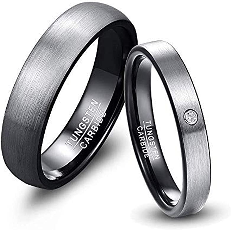 King Will Mens Tungsten Carbide Wedding Ring Classic Engagement Band for Men Women Blue//Rose Gold//Black