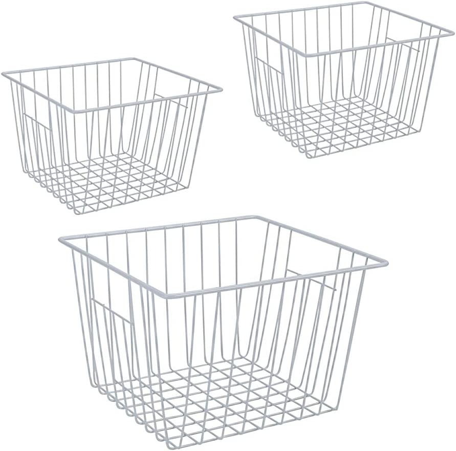 Freezer Wire Organizer Basket, Deep Wire Basket for Upright Refrigerator Freezer, Household Bin Basket with Handles for Kitchen Freezer, Cabinets, Pantry, Closets, Set of 3