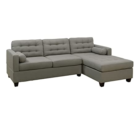 Poundex F7564 Bobkona Kiele Sectional Set, Grey
