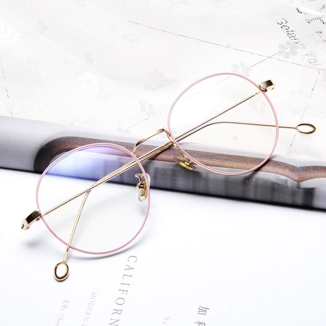 2480059126 Kajuer Gafas metálicas Montura de los Estudiantes Gafas Planas Gafas para  Mujeres Gafas Falsas para Hombres/Mujeres Gafas sin Receta (Color : Pink):  ...