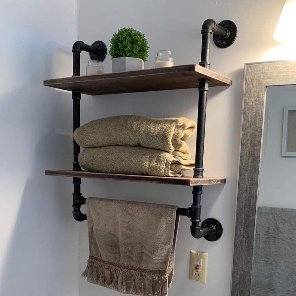 Amazon Com Womio Industrial Pipe Bathroom Shelves Wall Mounted With Towel Bar 19 7in Rustic Wall Decor Farmhouse 2 Tiered Towel Rack Metal Floating Shelves Towel Holder Wall Shelf Over Toilet Home Kitchen
