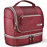 Toiletry Bag Hanging Travel Toiletry Organizer Kit with Hook and Handle Waterproof Cosmetic Bag Dop Kit for Men or Women (Wine Red)