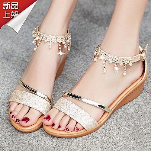 Señoras sandalias de cuero con pendiente toe zapatillas Sandalia de verano ,40 gold Gold