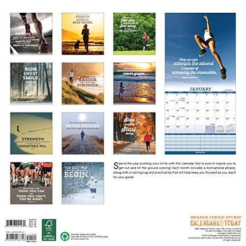 Orange Circle Studio 16-Month 2017 Wall Calendar, Run Inspired (51192)
