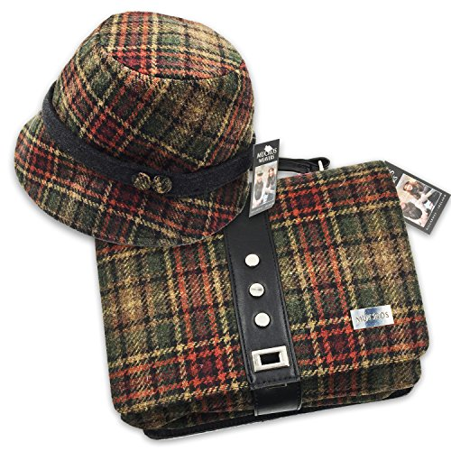 Mucros Clodagh Hat and Fiona Bag Set (Brown Plaid) by Mucros Weavers