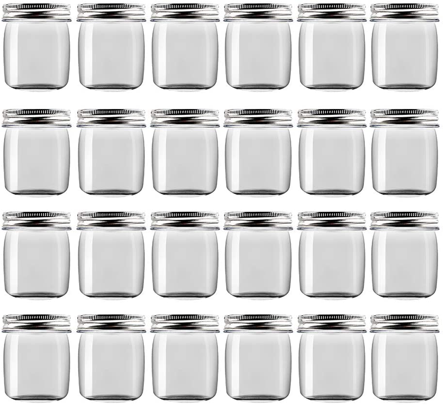 Novelinks 8 Ounce Clear Plastic Jars Containers With Screw On Lids - Refillable Round Empty Plastic Slime Storage Containers for Kitchen & Household Storage - BPA Free (24 Pack)