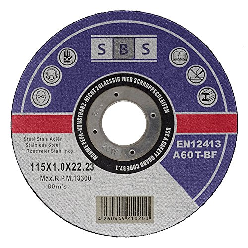 SBS Cutting Discs | 115 x 1.0 mm | 100 Pieces | INOX | for Cutting or Angle...