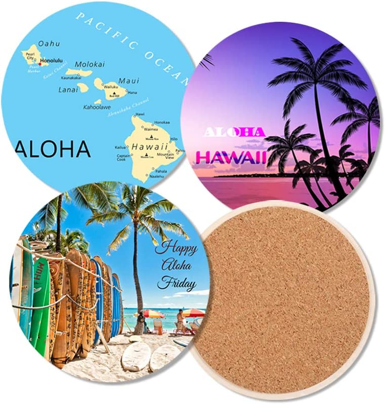 SAC SMARTEN ARTS Absorbent Ceramic Coaster for Drink Set of 4 with Cork Backing - Hawaii Summer Design with Metal Holder 4.25