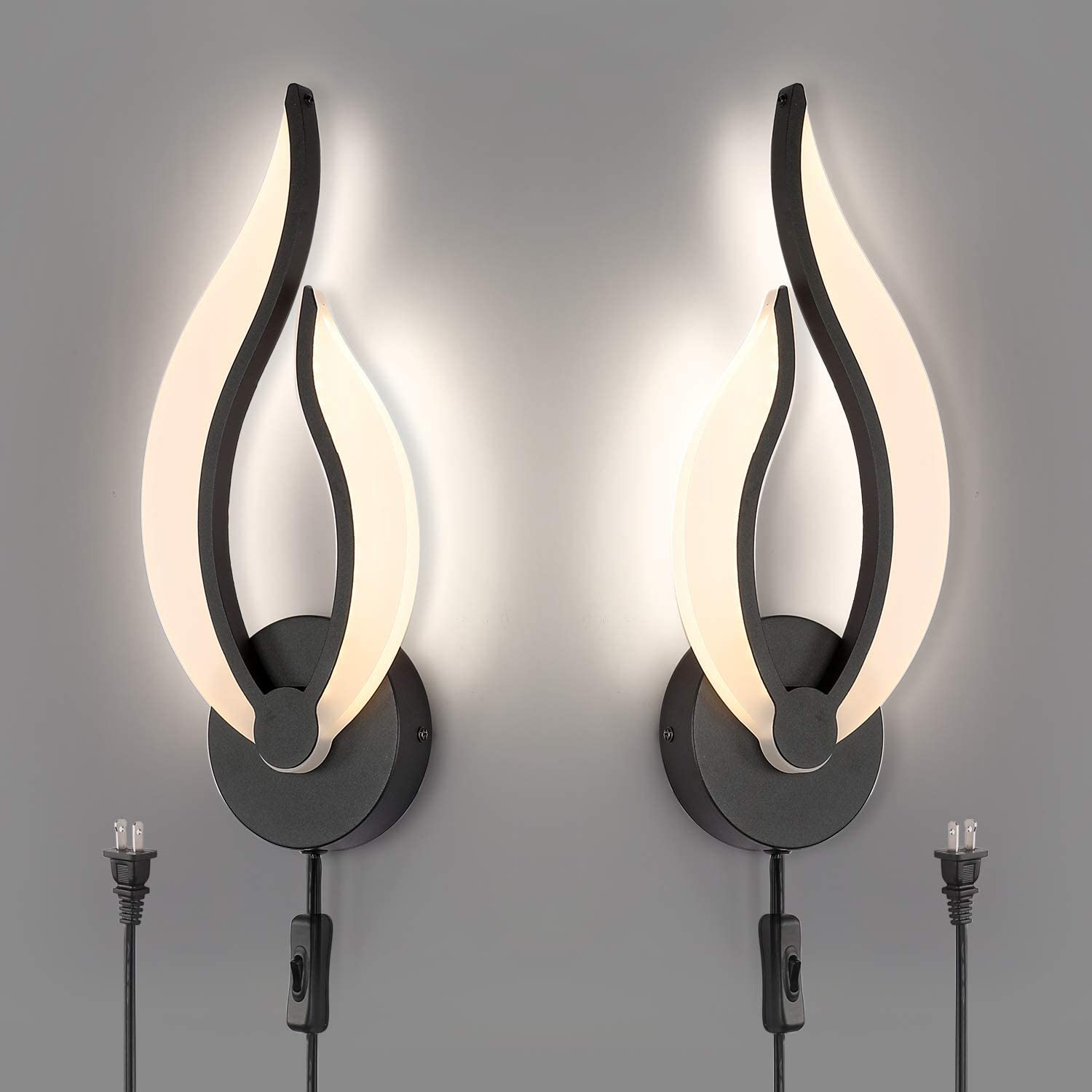 Pasoar Black Wall Light Modern LED Wall Lamps for Bedrooms Set of 2, Plug in Wall Light Fixtures 3000K 10Watt Each, LED Wall Light Fixtures