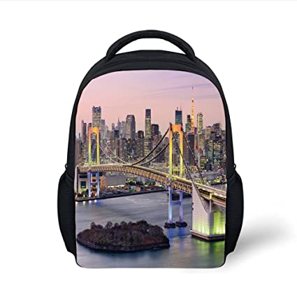 5789ad66b38a Amazon.com: iPrint Kids School Backpack Cityscape,Tokyo Japanese ...