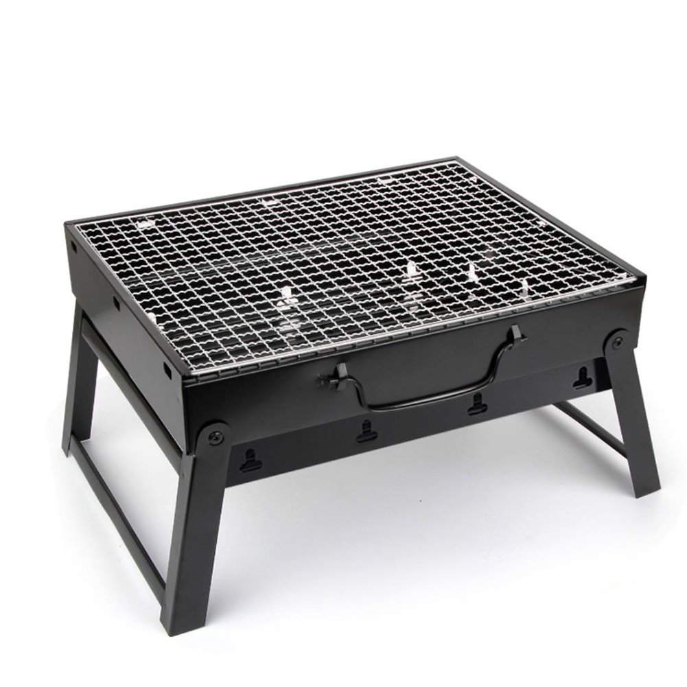 Sushar Portable Charcoal BBQ Grill Outdoor Picnic thickened Qualified 430 Stainless Steel Charcoal Grill/Expanded 11.4x16.9x9.4 inch