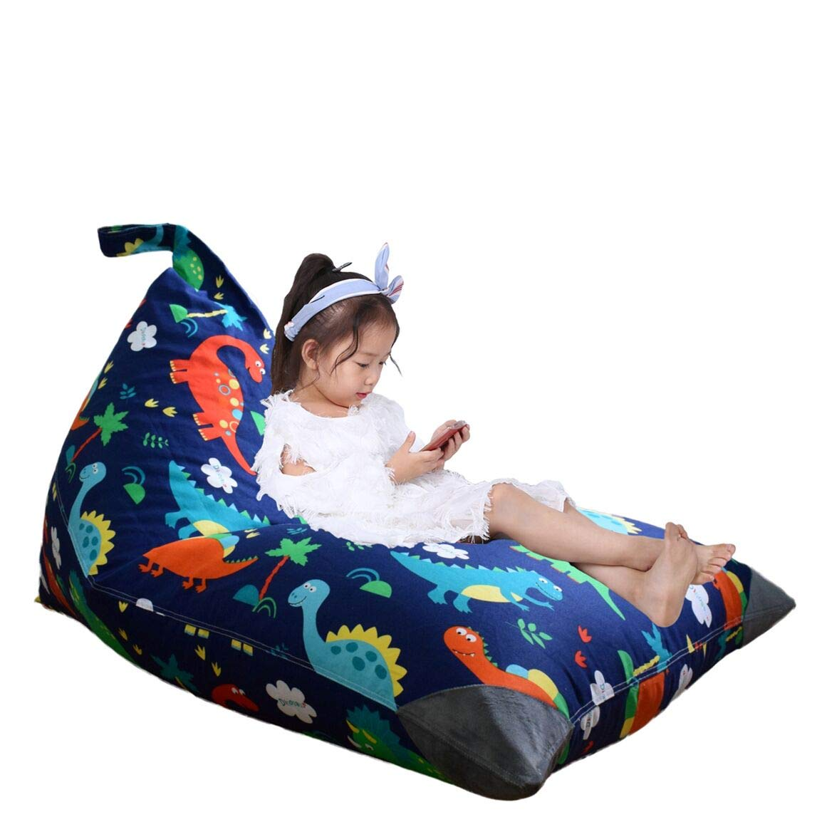 Stuffed Animal Storage Bean Bag Chair for Kids and Adults. Premium Canvas Stuffie Seat – Cover ONLY Dinosaur 200L 52 Gal