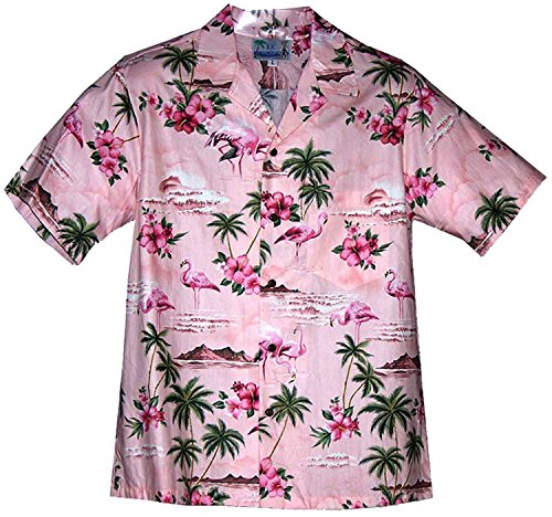 Pink Hibiscus (RJC Men's Pink Flamingo Hibiscus Hawaiian Shirt Pink - Large)