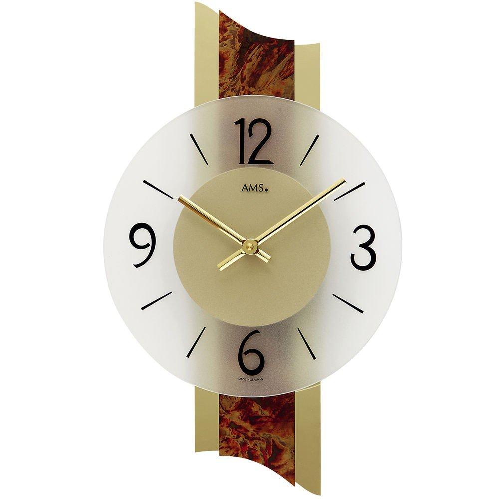 AMS Wohnzimmer Wanduhr 9393 Quarz Deko Wanduhr dekorative Metallauflage auf Messing Mineralglas