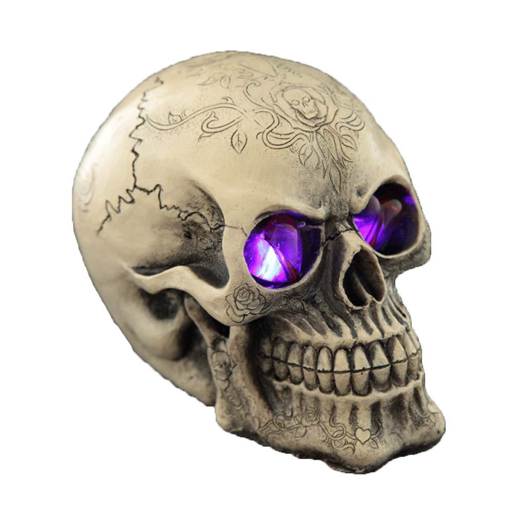 KXHWSH Creative Terror Skeleton Skull Decoration Simulation Illuminate Resin Crafts for Bar Decoration Christmas Party Dinning Ornament Halloween,C by KXHWSH