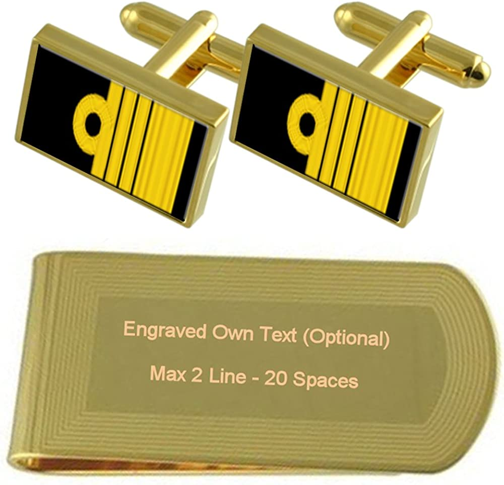 Royal Navy Insignia Rank Admiral Gold-tone Cufflinks Money Clip Engraved Gift Set