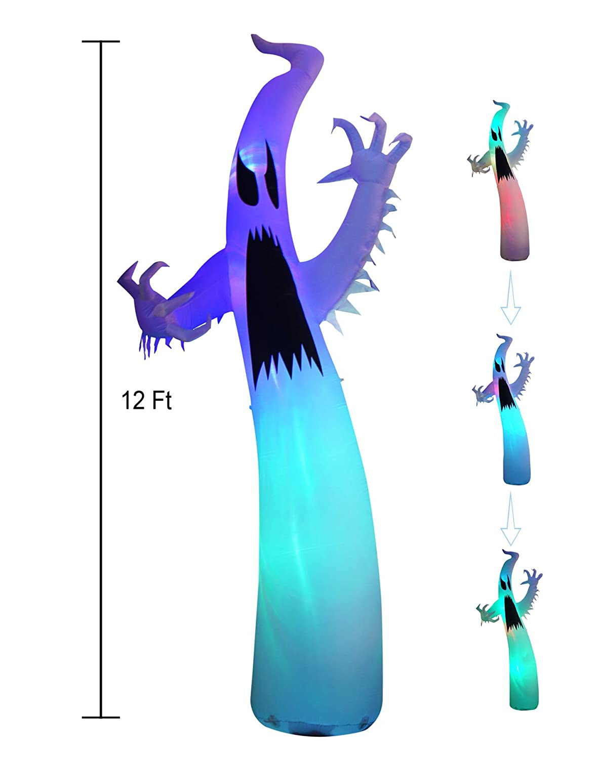 SEASONBLOW 12 Ft Inflatable Portable Halloween Terrible Ghost Indoor and Outdoor Decoration CHH1605B-360