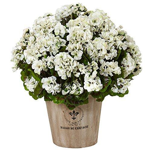 (Nearly Natural Geranium Silk Flowering Plant in Farmhouse Planter, White)