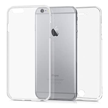 kwmobile Funda para Apple iPhone 6 Plus / 6S Plus - Carcasa Completa [360] de [Silicona] para móvil - Cover Doble [Transparente]