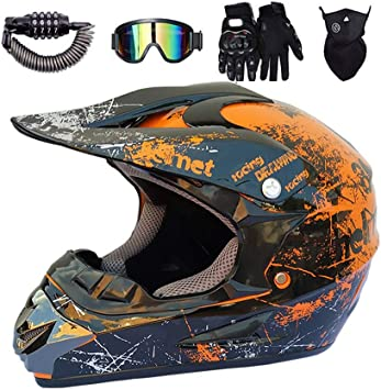 IKHNGLE Casco de motocross AM Moto Cross Casco City Casco Moto Motocross Casco /& Guantes /& gafas de protecci/ón D.O.T Standard Ni/ños Quad Bike ATV Go de casco