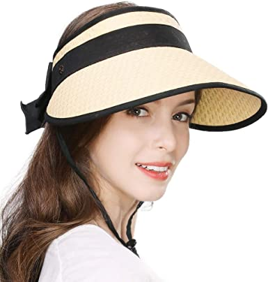 3 Pieces ​Foldable Sun Beach Visor Women Wide Ladies Cap Roll Up Cloth Hat