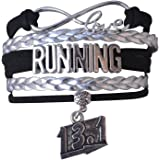 Infinity Collection Running Gifts- Runner Bracelet, Running Jewelry, Adjustable Running Charm Bracelet- Perfect Cross…