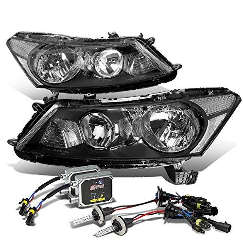 (For Honda Accord 8th Gen Sedan Black Housing Clear Corner Headlight+9006 HIDs 6,000K+Thick Ballasts)