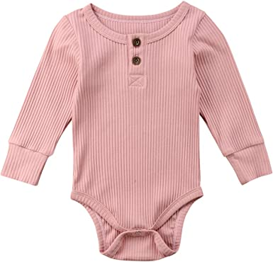 Newborn Infant Baby Boys Girls Solid Romper Bodysuit Clothes Jumpsuit Clothes