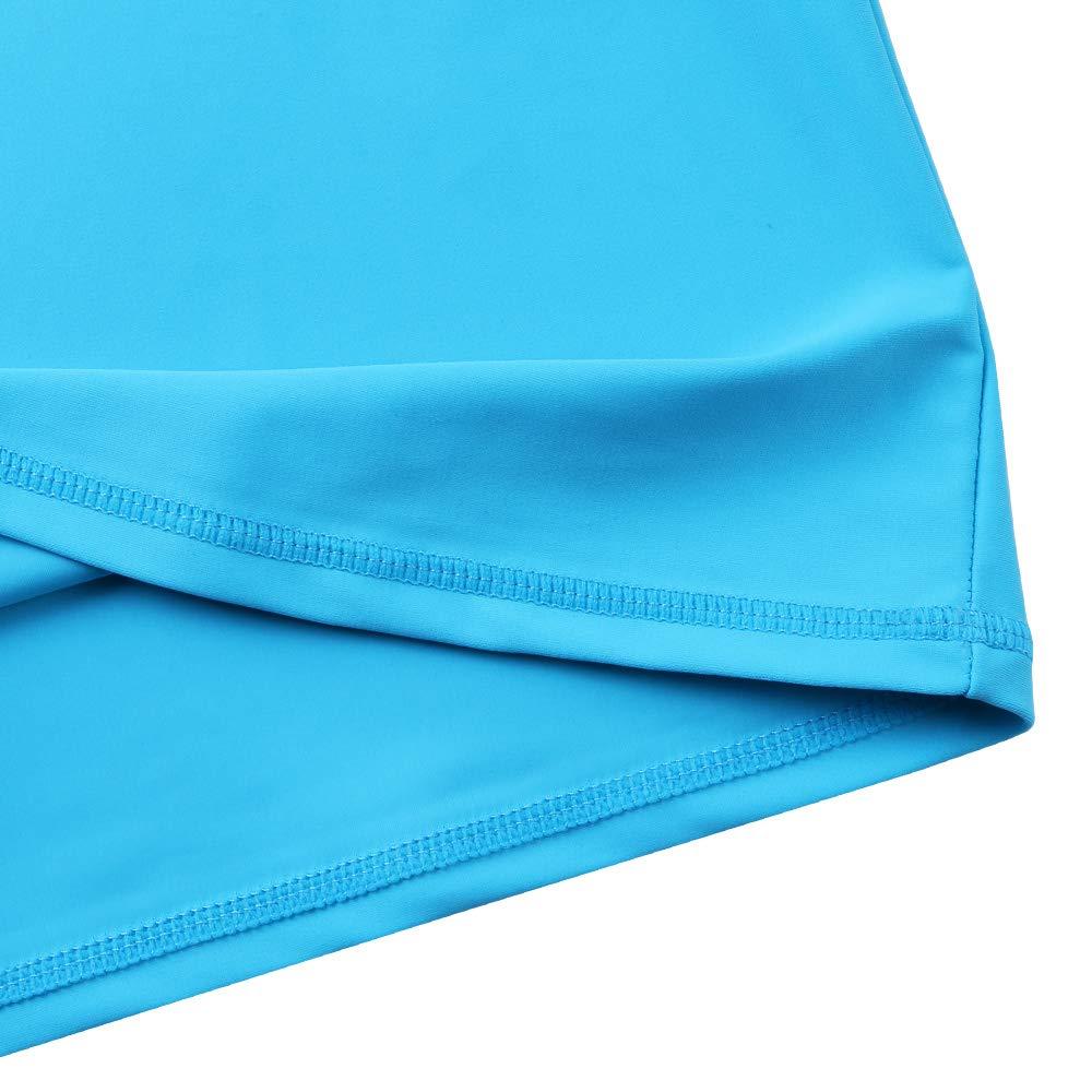 TFJH E Girls' Long-Sleeve Rashguard Swim Shirt UV 50+ Surfing Beachwear, Blue 10A by TFJH E (Image #5)