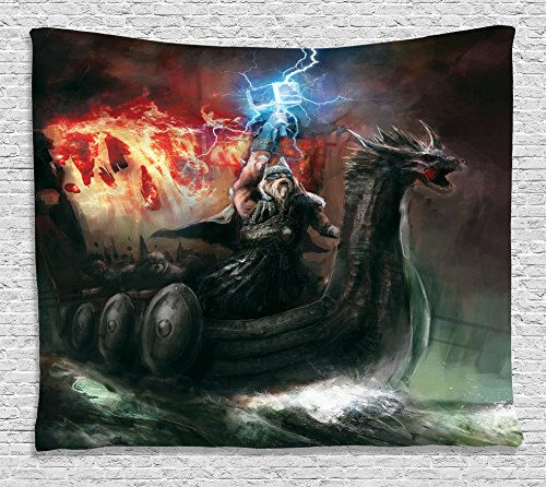 Lake House Decor Tapestry Wall Hanging by Ambesonne, Wrath of Religious Vikings
