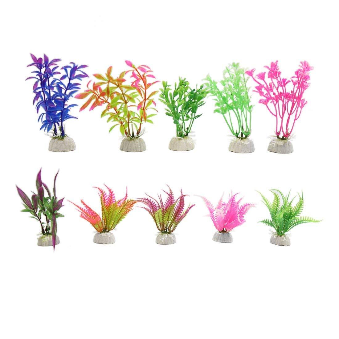 10Pcs Plastic Mini Water Grass Betta Tank Fishbowl Decoration with Stand