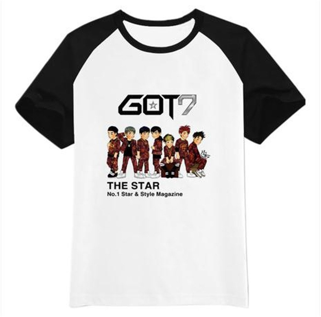 Amazon.com: GOT 7 Kpop T shirt Short sleeve shirt accessoires +1 piece of GOT 7 poster lomo card (Style B, M): Clothing