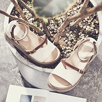 SOHOEOS Filles Sandales pour Femmes Dames Été Jeune Étudiant Nouvelles Dames Strappy Sandales Boucle Plate Forme Chaussures Dames Véritable Cuir Flip Flop,