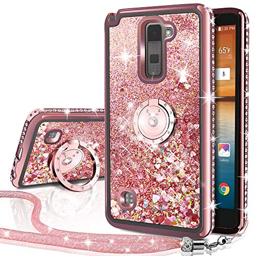 (LG Stylo 2 V/Stylo 2/ Stylo 2 Plus/Stylus 2 Case, Silverback Moving Liquid Holographic Sparkle Glitter Case with Kickstand, Bling Diamond Rhinestone Bumper with Ring Slim Protective LG LS 775 -RD)