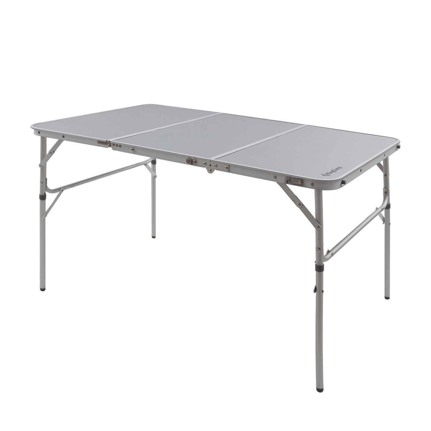 KingCamp Aluminum Alloy 3-Fold Camp Table with Carry Bag Adjustable Height Light Weight Collapsible Foldable Portable Sturdy Compact Storage for Camping, Outdoor, Picnic, Vacation, Call Out Length