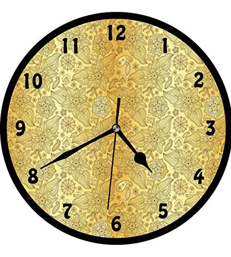 (Mandala, Flourish Pattern with Paisley Botanical Garden Curvy Persian Fashion,Wall Clock Nice For Gift or Office Home Unique Decorative Clock Wall Decor 12in with Frame, Yellow and Pale Yellow)