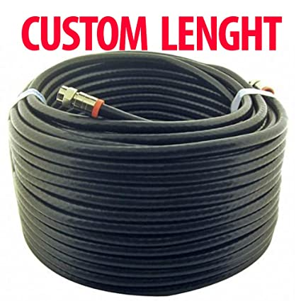 14ft TV Black Coaxial Cable with F-Male connectors - CUSTOM Length - Coaxial -cable - - Amazon.com